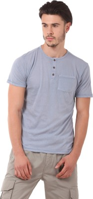 CAT Solid Men's Round Neck Grey T-Shirt