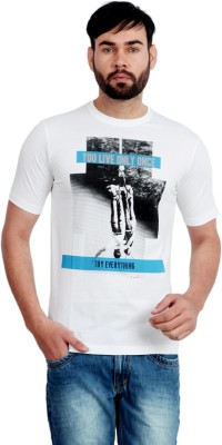 Urban Republic Printed Men's Round Neck White T-Shirt