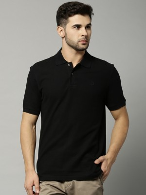 Marks & Spencer Solid Men's Polo Neck Black T-Shirt