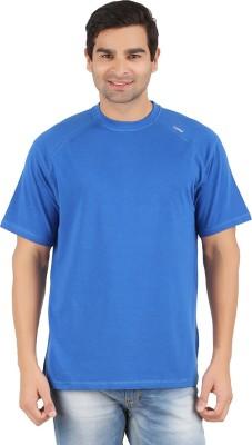 Lavos Solid Men's Round Neck Blue T-Shirt