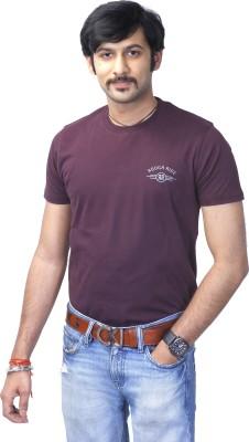 Rough Ride Solid Men's Round Neck Purple T-Shirt