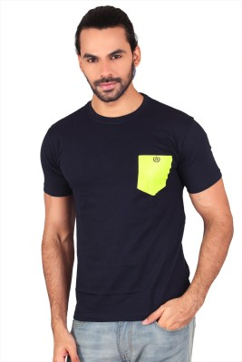 Anger Beast Solid Men's Round Neck Blue T-Shirt