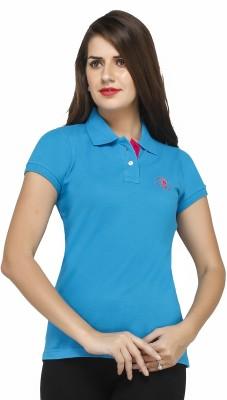 Run of luck Solid Women's Polo Blue T-Shirt