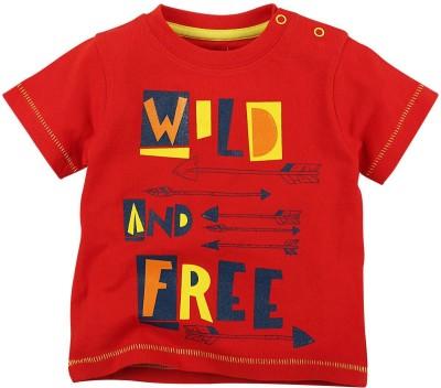 Babyoye Printed Boy's Round Neck Red T-Shirt