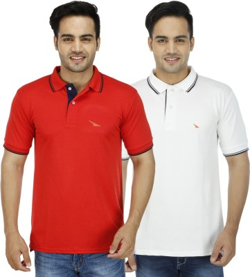 PRO Lapes Solid Men's Polo Neck White, Red T-Shirt