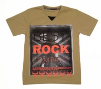 Miracle Printed Boys V-neck Beige T-Shirt