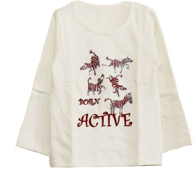 My Little Lambs Solid Boy's Round Neck White T-Shirt