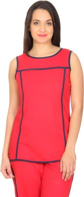 Rute Solid Women's Round Neck Red, Black T-Shirt