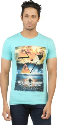 LEVELS Printed Men's Round Neck Light Blue T-Shirt