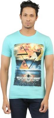 LEVELS Printed Men,s Round Neck Light Blue T-Shirt