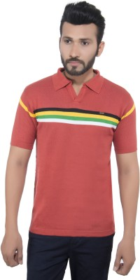 GreyBooze Striped Men's Polo Neck Orange T-Shirt