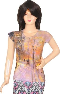 AMAZE FAB Printed Women's Round Neck Multicolor T-Shirt