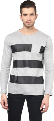 Acomharc Striped Men's Round Neck Grey T-Shirt