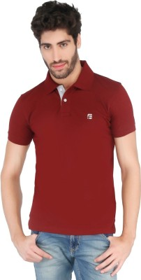 Floe Solid Men's Polo Neck Maroon T-Shirt