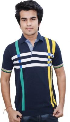 Being Dessi Solid Men's V-neck Dark Blue, Yellow T-Shirt