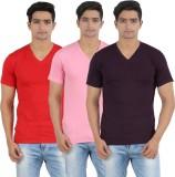 Lyril Solid Men's V-neck Pink, Black, Pi...