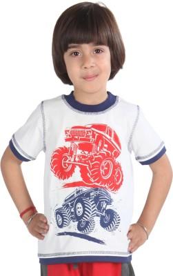 Posh Kids Graphic Print Boy's Round Neck White T-Shirt