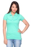 STRAWBERRY GIRL Solid Women's Polo Green...