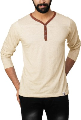 UnKonventional Self Design Men's Henley Beige T-Shirt