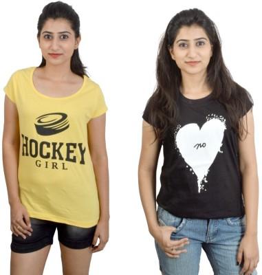 EEIA Printed Women's Round Neck Yellow, Black T-Shirt