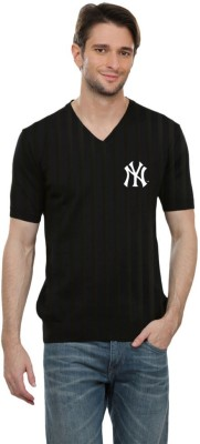 Cool Club Solid Men's V-neck Black T-Shirt