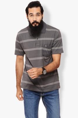 Italian Polo Striped Men's Polo Neck Grey T-Shirt