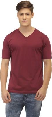 Jogur Solid Men's V-neck Brown T-Shirt