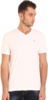 Sting Solid Men's V-neck White T-Shirt