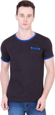 Ganzm Solid Men's Round Neck Black T-Shirt