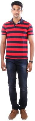 Indian Terrain Striped Men's Flap Collar Neck Multicolor T-Shirt