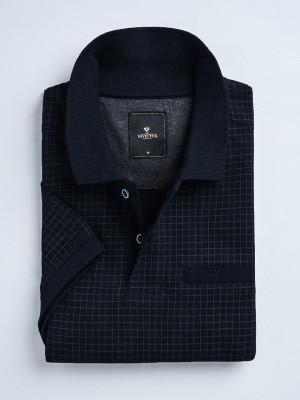 Invictus Checkered Men's Polo Neck Dark Blue T-Shirt