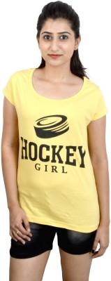Eeia Printed Women's Scoop Neck Yellow T-Shirt