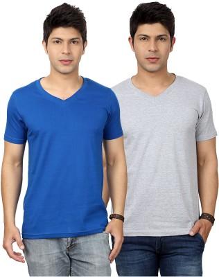 Top Notch Solid Men's V-neck Blue, Grey T-Shirt