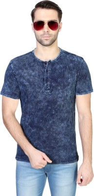 Van Heusen Solid Men's Henley Dark Blue T-Shirt