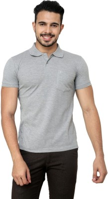 Cotton County Premium Solid Men's Flap Collar Neck Grey T-Shirt