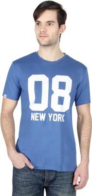 Threads & Pals Printed Men's Round Neck Blue T-Shirt