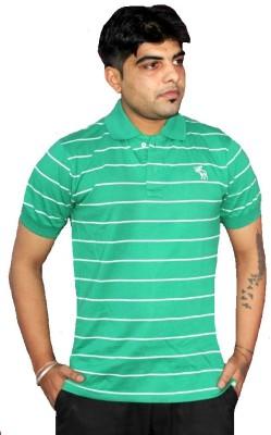 AS42 Striped Men's Polo Neck Green T-Shirt
