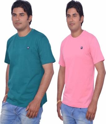 LEAF Solid Men's Round Neck Green, Pink T-Shirt