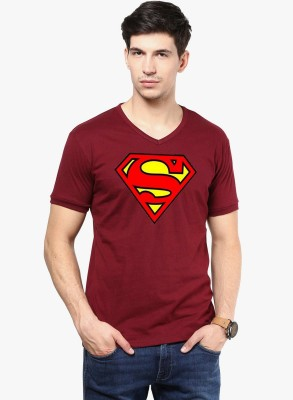 East West Solid Men's V-neck Maroon T-Shirt