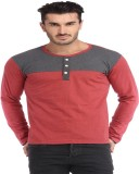 Leana Solid Men's Henley Grey, Red T-Shi...