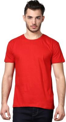 Inkovy Solid Men's Round Neck Red T-Shirt