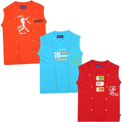 SPN Garments Printed Girl,s Round Neck Red, Blue, Orange T-Shirt