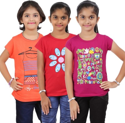 Bes-Tex Printed Girl's Round Neck Multicolor T-Shirt