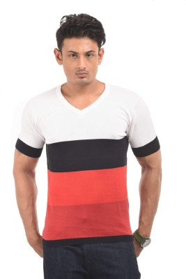 AMX Striped Men's Polo Neck Black T-Shirt
