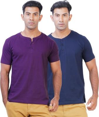 Click Hit Solid Men's Henley Purple, Blue T-Shirt