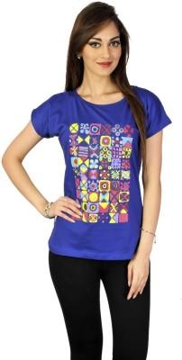 Go-Art Printed Women,s Round Neck Blue T-Shirt