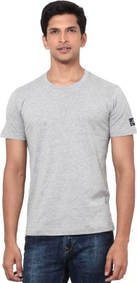 La Seven Solid Men's Round Neck Grey T-Shirt