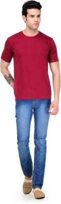 Scott International Solid Men's Round Neck Maroon T-Shirt