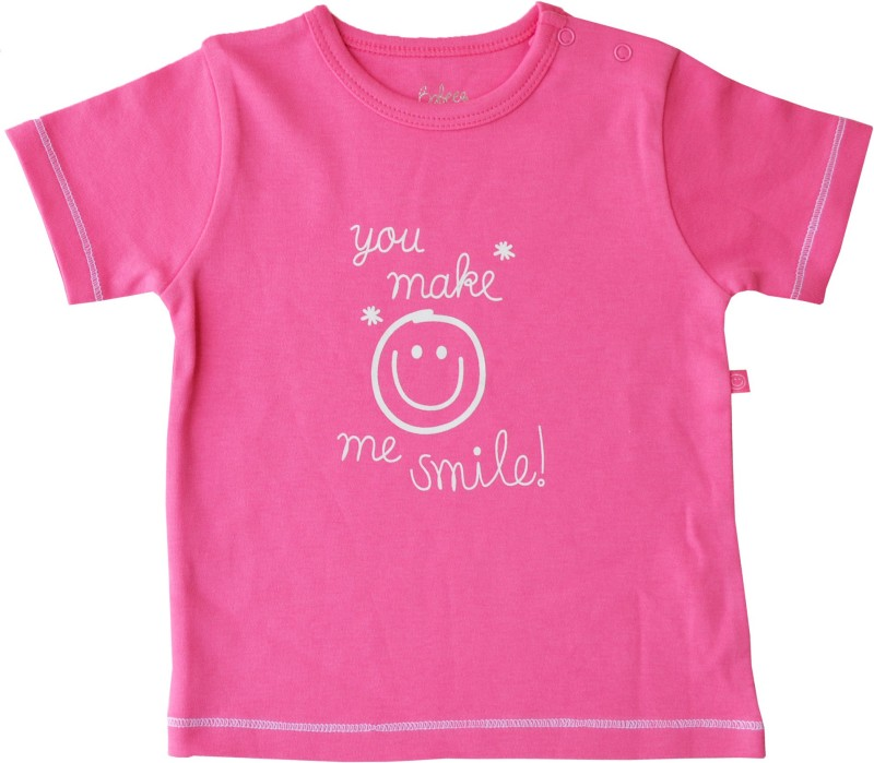 Babeez World Solid Baby Girl's Round Neck Pink T-Shirt