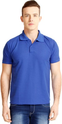 Faded Finch Solid Men's Polo Neck Blue T-Shirt